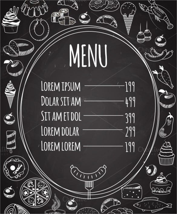 seamless food menu on chalkboard download