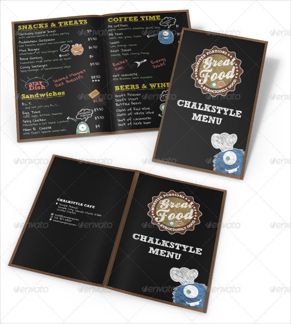 monster chalkboard menu download