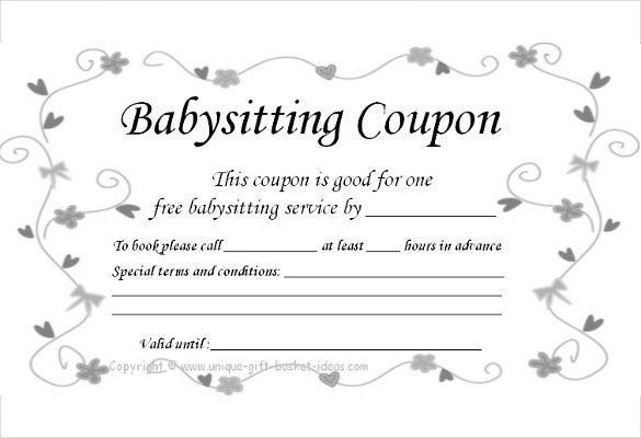 Baby Sitting Coupon Template 10 Free Printable PDF Documents – Free Printable Vouchers Templates