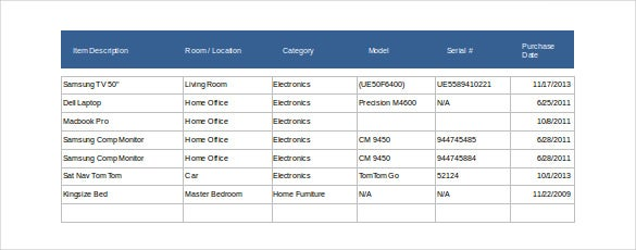 14 estate inventory templates free sample example format