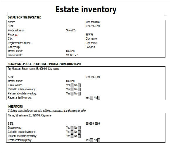 14 Estate Inventory Templates Free Sample Example