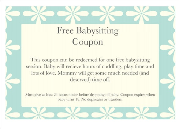 graphic relating to Babysitting Coupon Printable referred to as 12+ Little one Sitting down Coupon Templates - PSD, AI, InDesign, Phrase