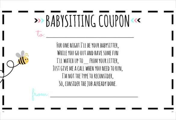 graphic regarding Printable Babysitting Coupon known as 12+ Little one Sitting down Coupon Templates - PSD, AI, InDesign, Phrase