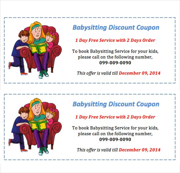 photo about Babysitting Coupon Printable known as 12+ Kid Sitting down Coupon Templates - PSD, AI, InDesign, Phrase