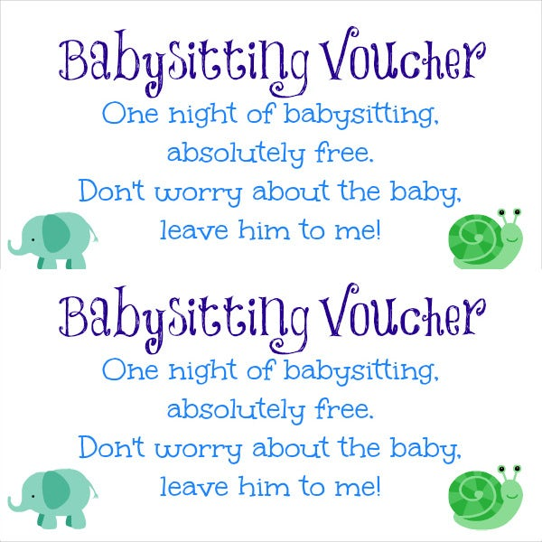 free babysitting gift coupon templates