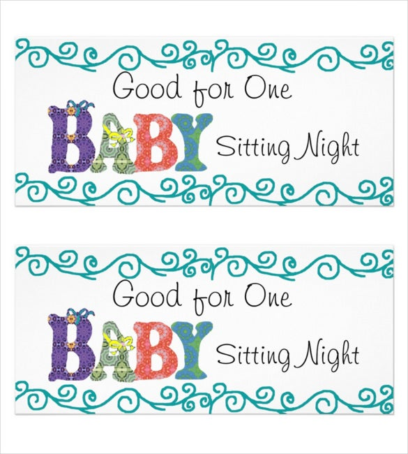 Baby Sitting Coupon Template 10 Free Printable Pdf Documents .  Coupons Design Templates