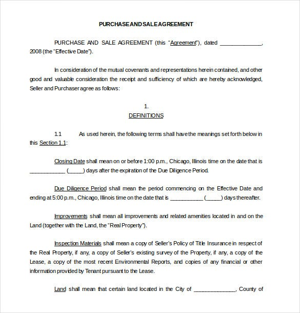 sample purchase and sale agreement template download