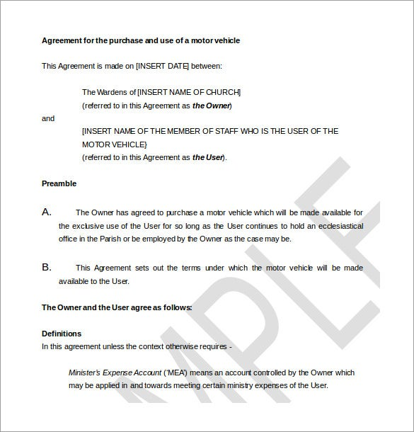 Sample Agreement For The Purchase Motor Vehicle Template  Car Purchase Agreement With Payments