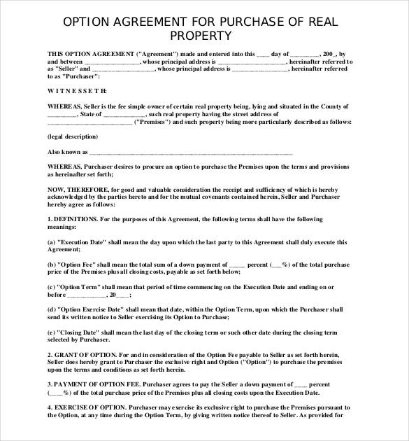 Sample Agreement To Purchase Property Free Download