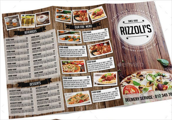 italian tri fold menu template download