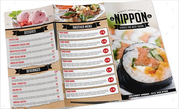 japanese tri fold menu download