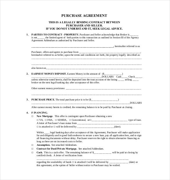 10+ Purchase Agreement Templates – Free Sample, Example, Format