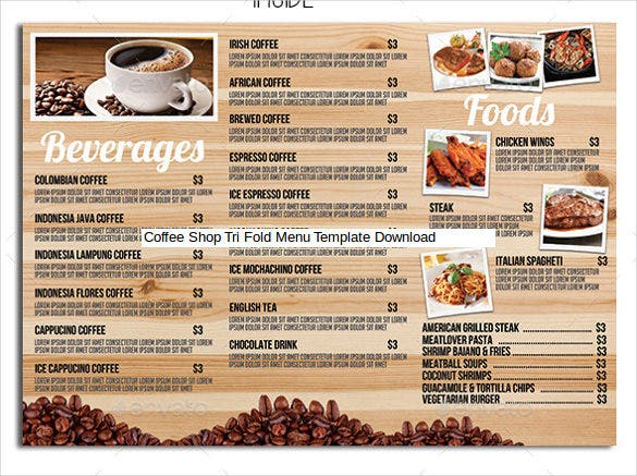 coffee shop tri fold menu template download