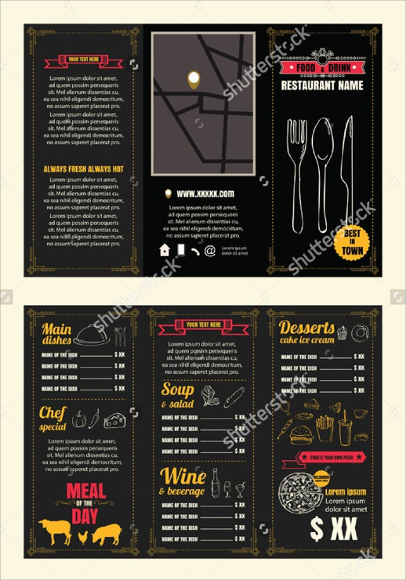 tri fold vintage restaurant menu design pamphlet vector template