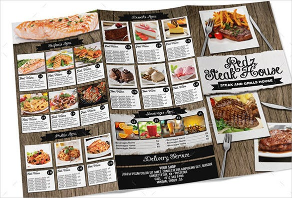 steak house tri fold menu download