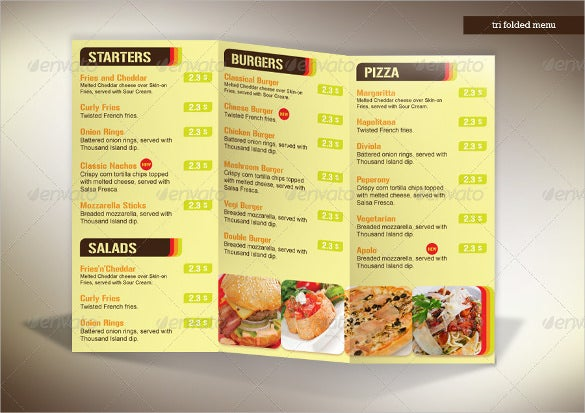 Tri Fold Menu Templates  Free Sample Example Format Download