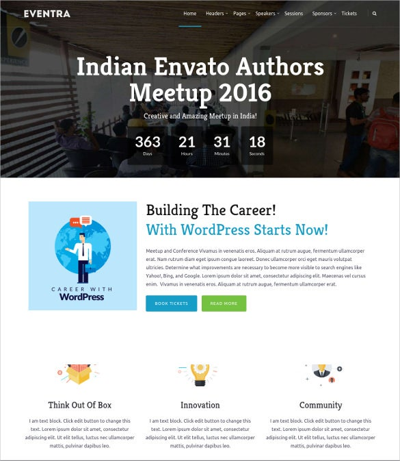 eventra seminar meetups conferences wordpress theme
