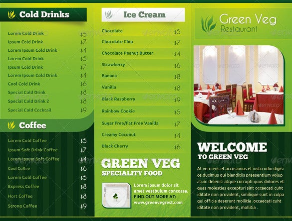 Tri Fold Menu Template Free | Green Veg Restaurant Tri Fold Menu Card Template Download