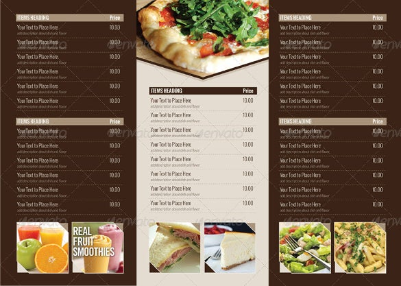 Tri Fold Menu Templates Free Sample Example Format Download - 3 fold menu template