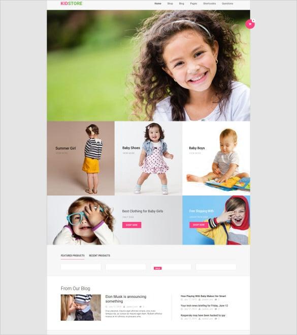 kid clothe store wp ecommerce theme