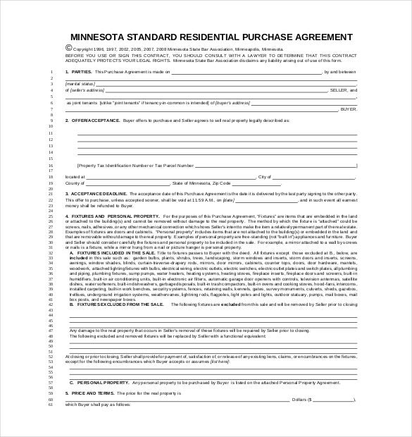 10 Purchase Agreement Templates Free Sample Example Format – Property Agreement Template
