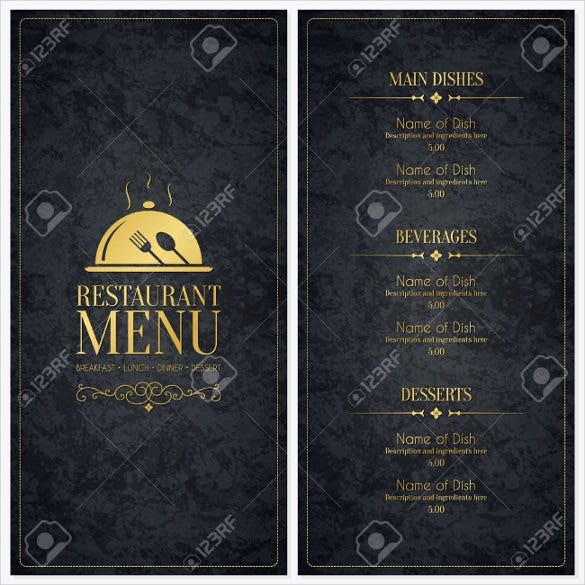 vector dessert menu template download