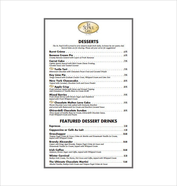the grill dessert menu free pdf template download