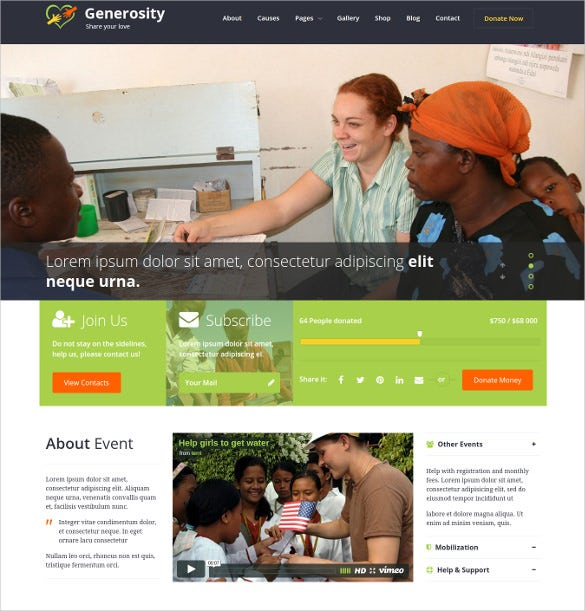 generosity charity non profit wordpress theme