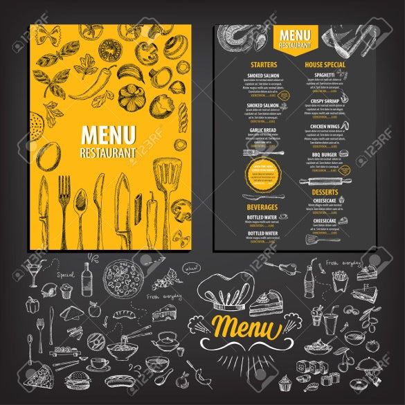 vector dessert menu template