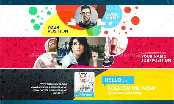 professional sample youtube banner art template