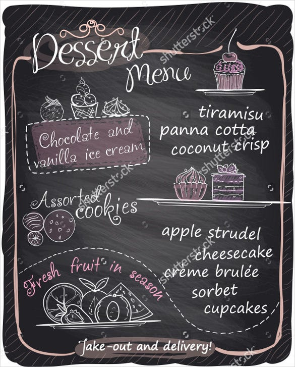 chalkboard dessert menu template download