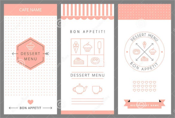 free desset menu template download