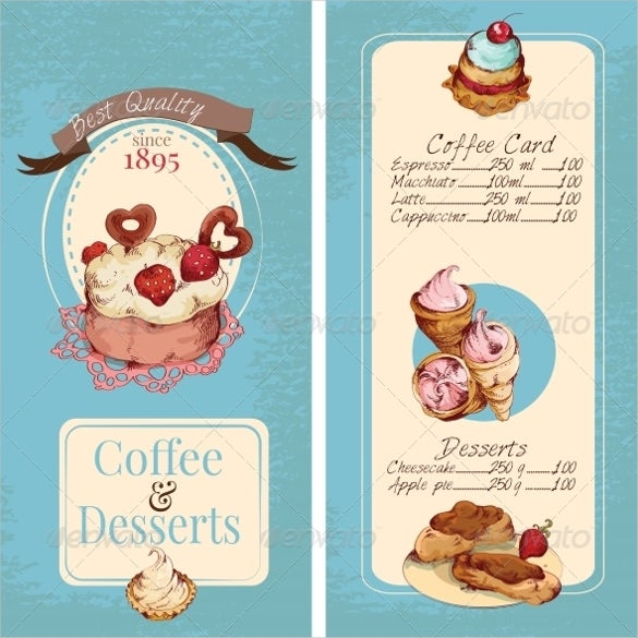 desserts menu template download