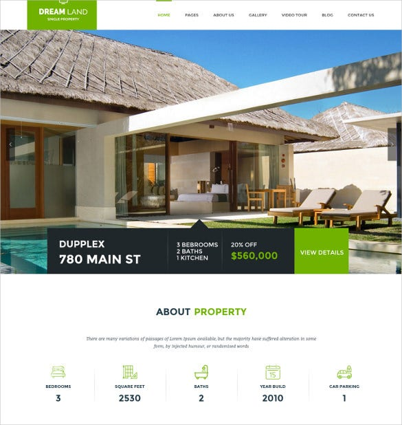 dream land single property real estate wordpress theme