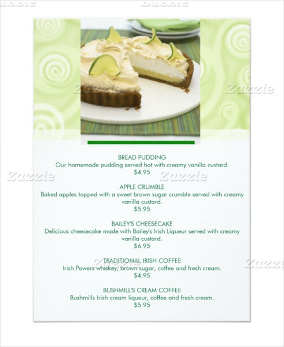 green theme customizable dessert menu card template