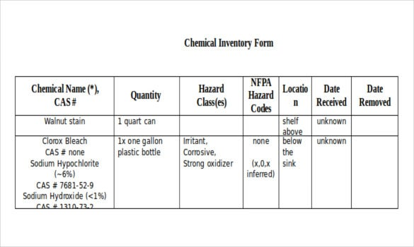 simple chemical inventory form