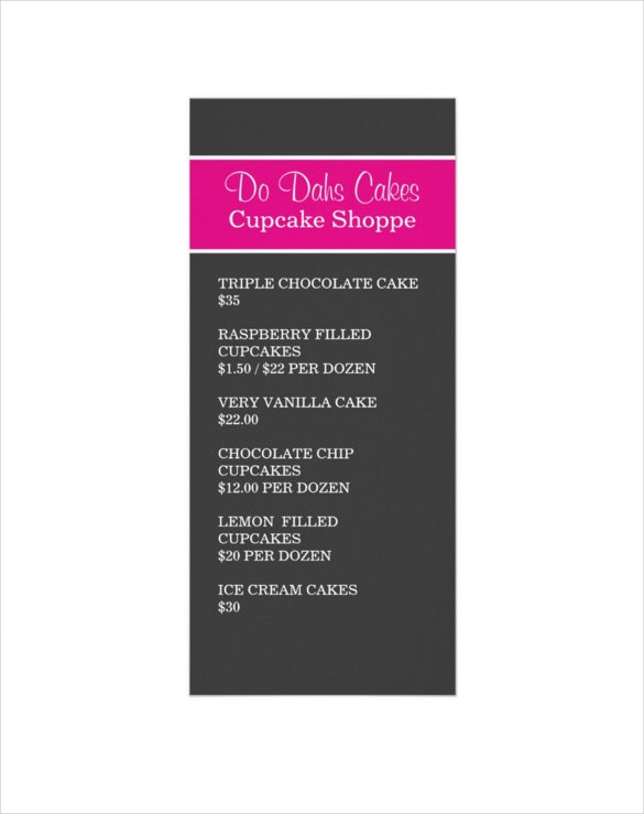 pink dark gray dessert menu rack cards template