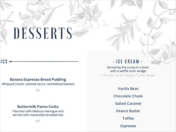 menu for dessert template download