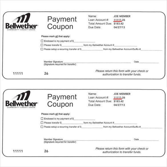 Payment Coupon Template   Free Printable Pdf Documents