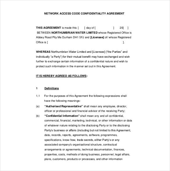 Confidentiality Agreement Template Free Form - Résultats D'Aol