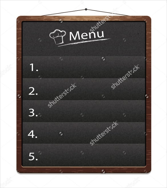 blank menu board template download