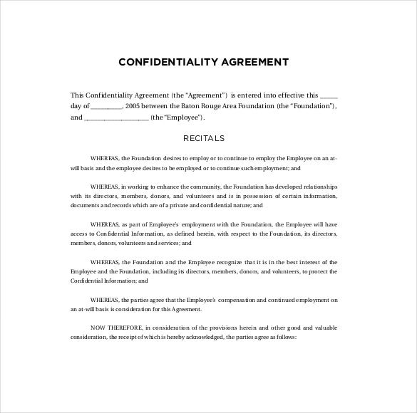 10 Confidentiality Agreement Templates Free Sample Example – Standard Confidentiality Agreement