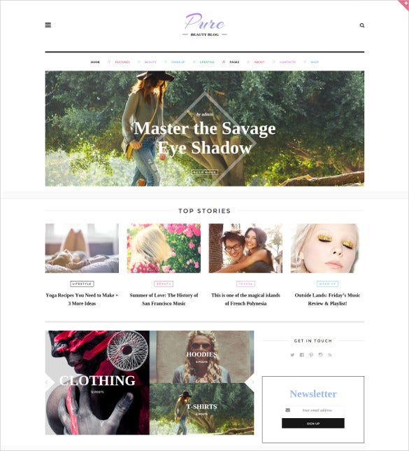 pure lifestyle blog wordpress theme