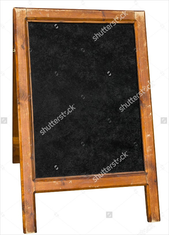 empty menu board stand sign isolated over white template