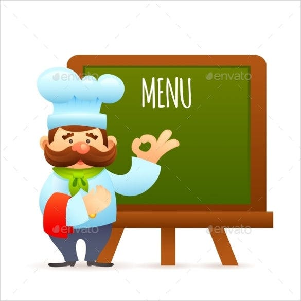 chef with menu board vector eps template download