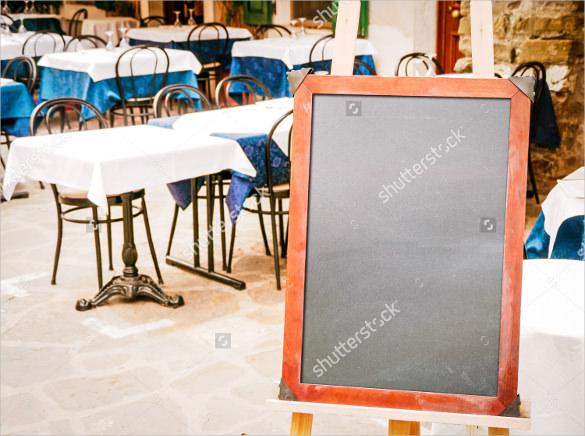 empty black menu board at a restaurant template