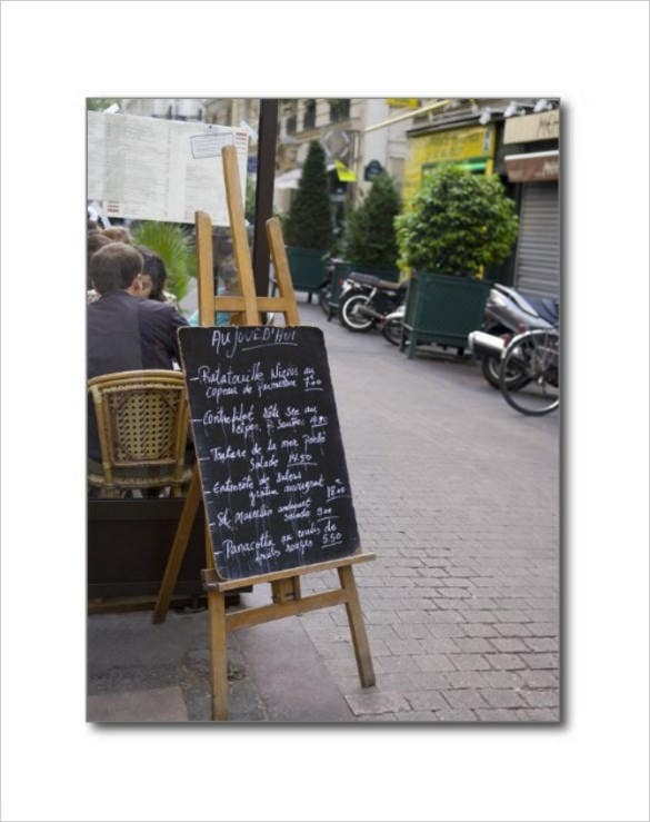 menu board of bistro postcard template download