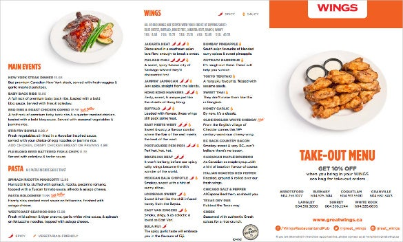 Beautiful Take Out Menu Free Template  A La Carte Menu Template