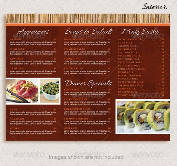 Takeout menu templates free for Take out menu