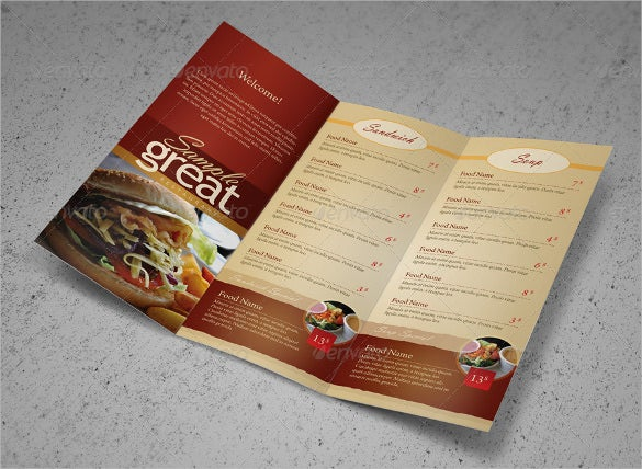 Cafe Take Out Menu Template Sample
